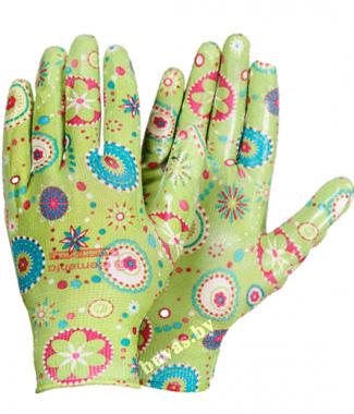 """Перчатки нейлоновые c полиуретановым покрытием """"Цветочек"""""""