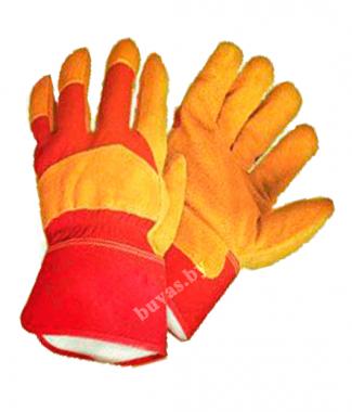 Перчатки спилковые комбинированные утепленные искусственным мехом