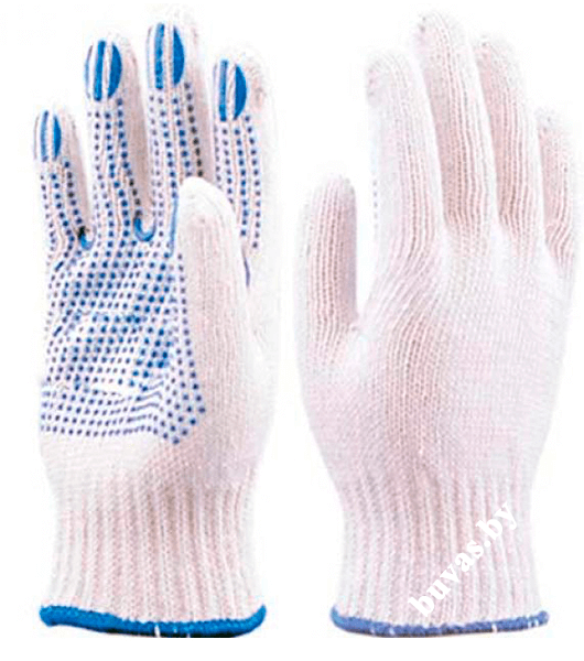 Перчатки х/б с ПВХ 6-нитка